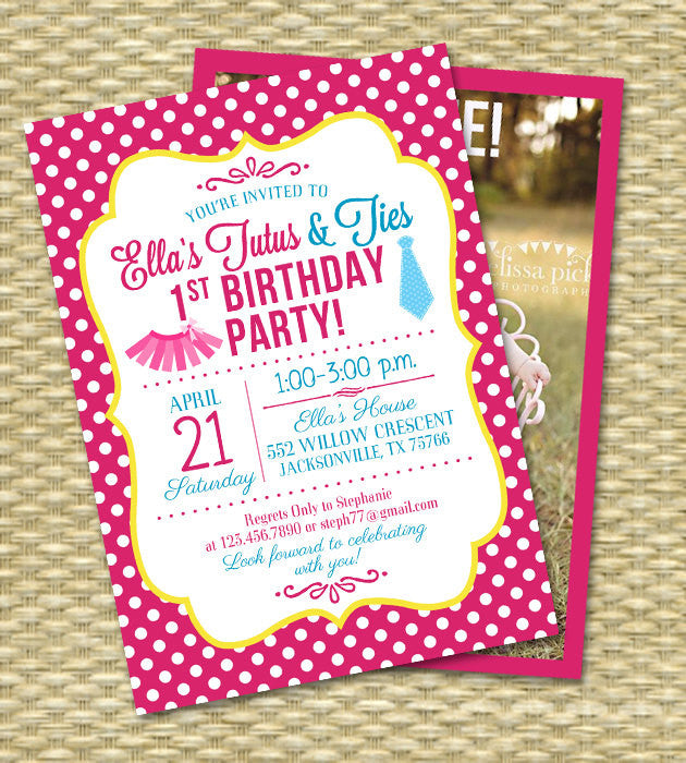 Tutus and ties first birthday invitation printable invitation 1st tutus and ties first birthday invitation printable invitation 1st birthday party invitation hot pink blue yellow any colors filmwisefo