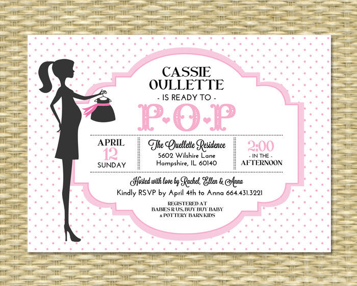 Ready to Pop Baby Shower Invitation Baby Girl Pink Polka Dot Chic Mommy-to-Be Typography Style Sip and See, Any Colors, Any Event