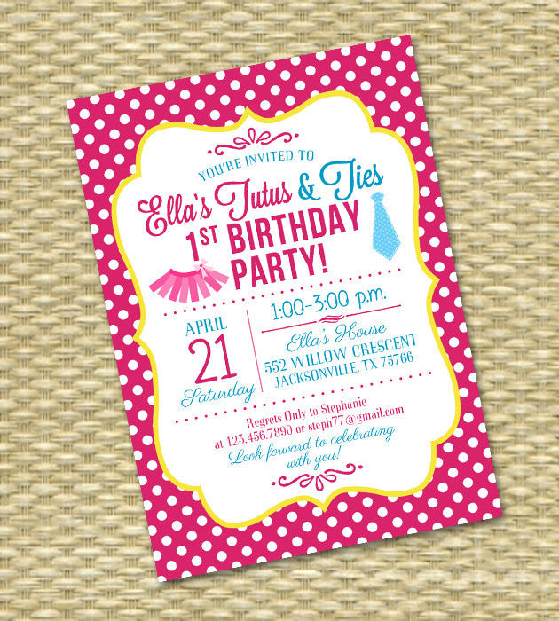 tutus and ties first birthday invitation printable invitation 1st