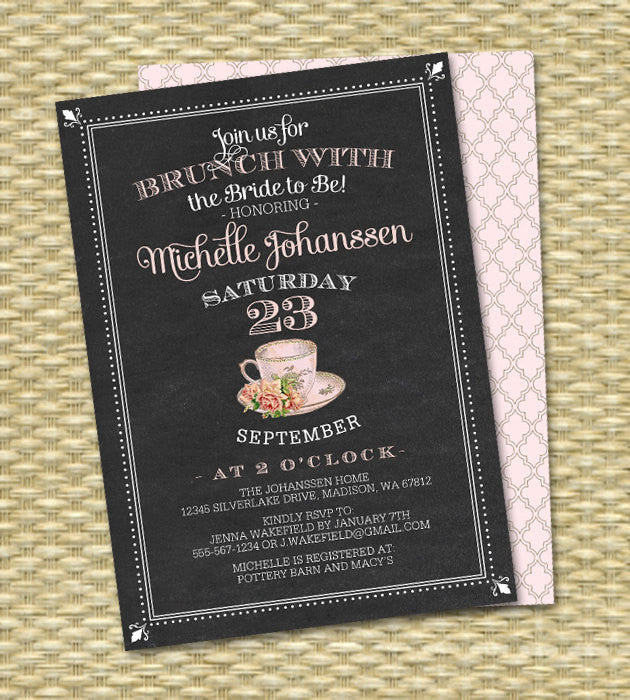 Bridal Brunch Invitation Chalkboard Brunch with the Bride Bridal Shower Invite Bridal Tea Party Vintage Teacup Pink Roses, Any Event