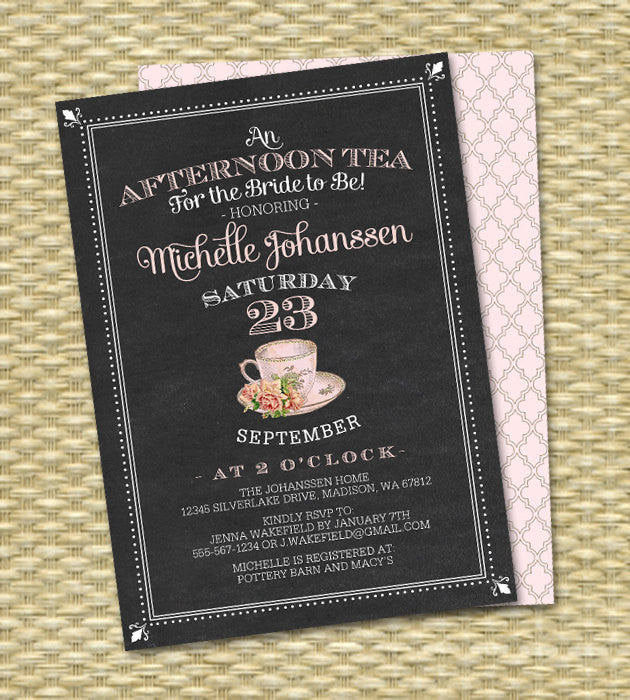 Afternoon Tea for the Bride to Be Bridal Tea Invitation Bridal Shower Tea Party Bridal Tea Brunch Vintage Teacup Pink Roses, Any Event