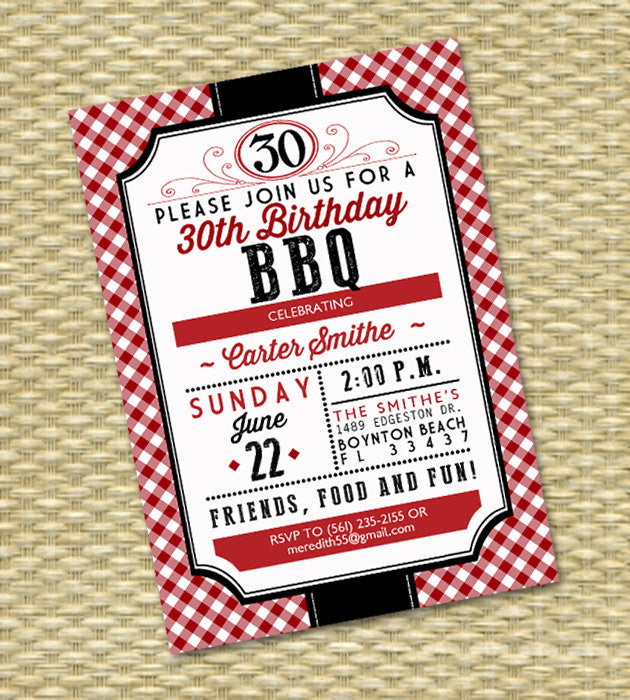 40th Birthday Invitation Birthday BBQ Adult Milestone Birthday I Do BBQ Wedding Shower Couples Shower Red Gingham Rustic Country, Any Event