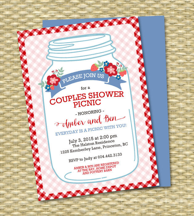 Bridal Shower Picnic Invitation Mason Jar Couples Shower Picnic Everyday is a Picnic with You Red Blue Gingham Check, ANY EVENT