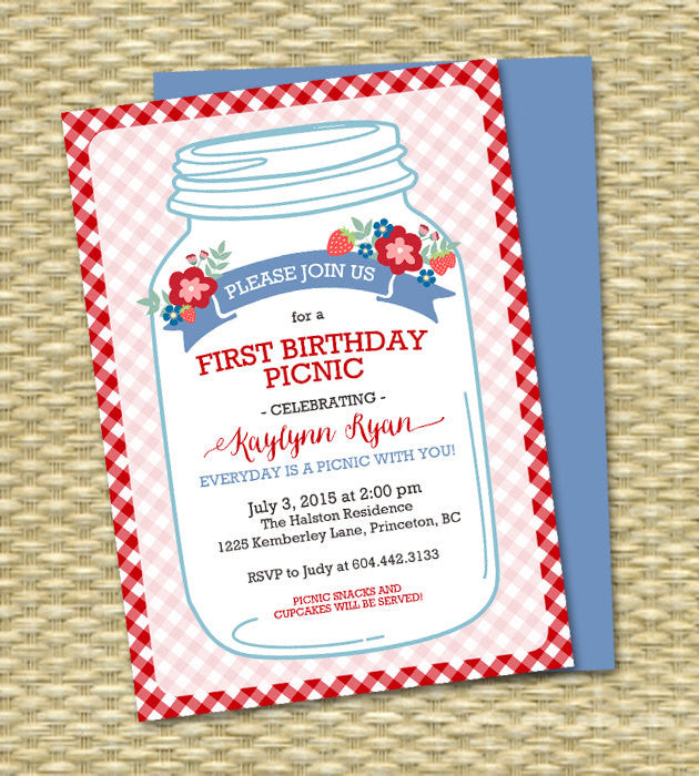Everyday is a Picnic with You Mason Jar Couples Shower Picnic Invitation Picnic Shower Bridal Shower Picnic First Birthday Picnic, ANY EVENT