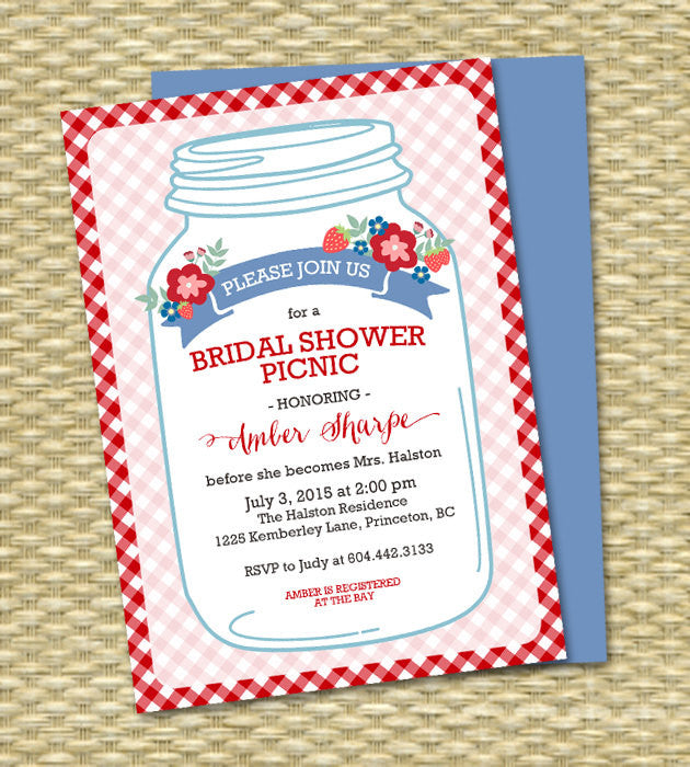 Rustic Mason Jar Couples Shower Picnic Invitation Wedding Shower