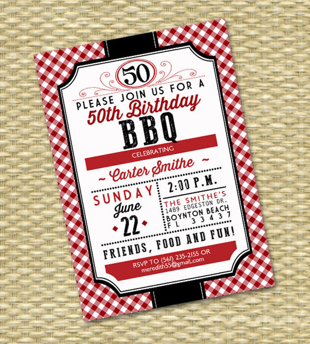 50th Birthday BBQ Red Gingham Rustic Country BBQ Adult Birthday Milestone Birthday Birthday Invite I Do BBQ, Any Event, Any Colors