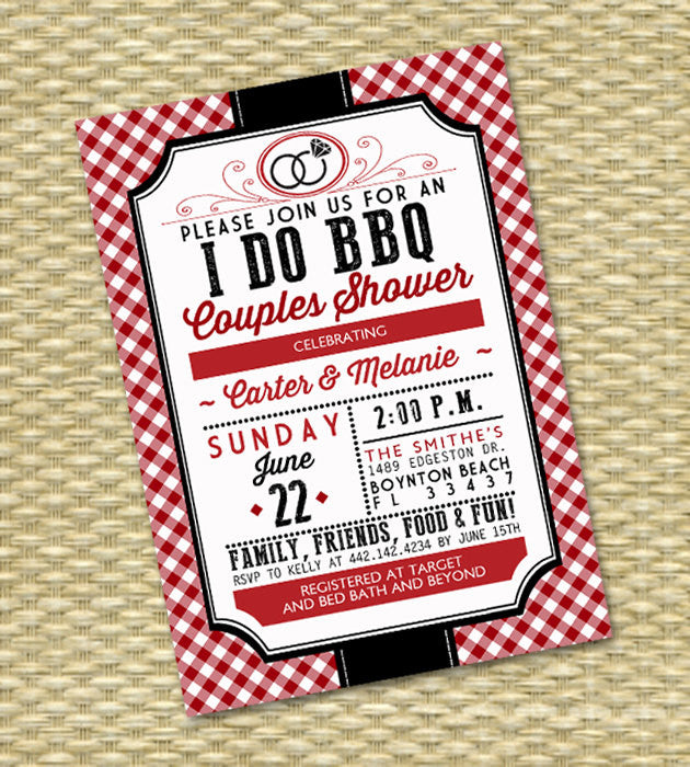 I Do BBQ Wedding Shower Red Gingham Couples Shower Rustic Country BBQ Engagement Party Rehearsal Dinner Invitation, Any Event, Any Colors