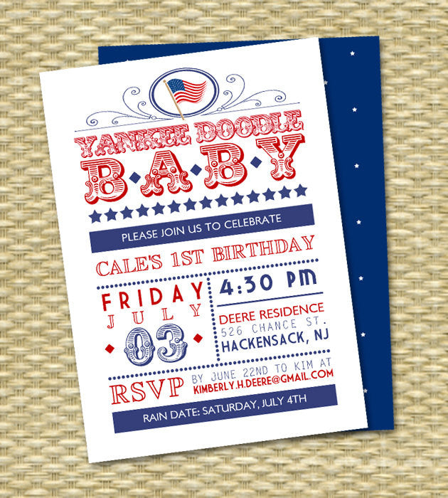 July 4th Birthday Red White and Two Birthday Invitation Red White and Blue Yankee Doodle Baby 4th of July Birthday Invitation