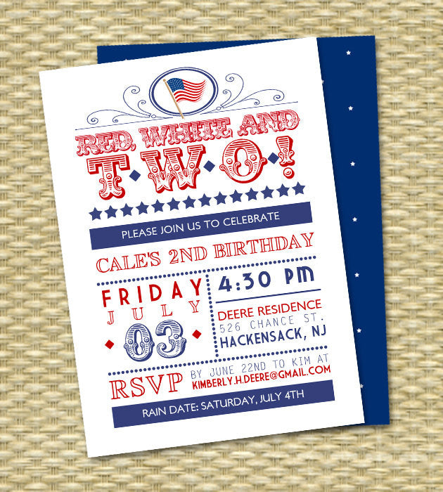 Red White and Two Birthday Invitation July 4th Birthday Red White and Blue Yankee Doodle Baby 4th of July Birthday Invitation