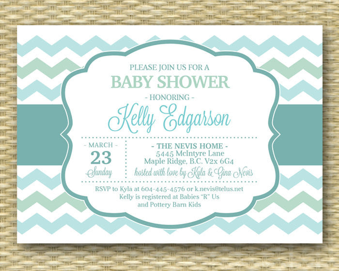 Gender Neutral Baby Shower Invitation Mint Green Aqua Blue Chevron Baby Boy Baby Girl Shower Diapers and Wipes Baby Sprinkle ANY COLORS