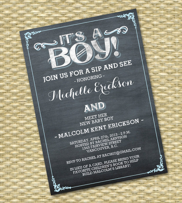 Sip And See Chalkboard Invitation Baby Girl Shower Baby Boy Baby Shower  Invite Diaper And Wipes Baby Sprinkle ANY COLOR Any Event