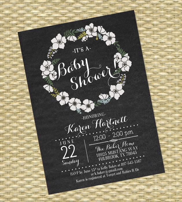 Chalkboard Baby Shower Invitation Gender Neutral Floral Wreath Rustic Wood Floral Shower Rustic Baby Shower Invite Baby Sprinkle ANY EVENT