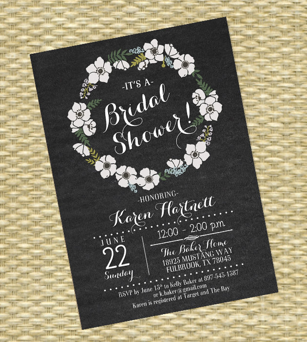 Rustic Bridal Shower Invitation Rustic Wood Floral Wreath Chalkboard Floral Invitation Rustic Couples Shower Invite Wedding Shower ANY EVENT