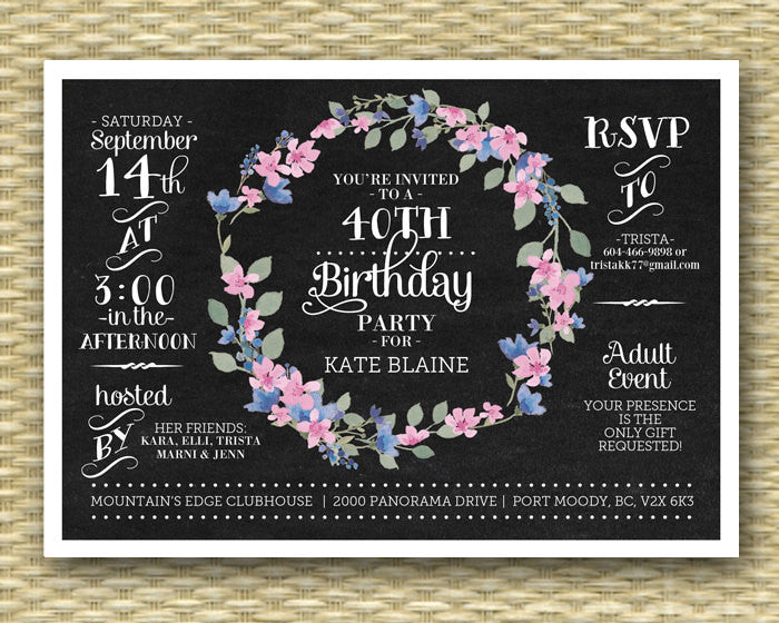Chalkboard Birthday Invitation 40th Birthday Invite Floral Wreath Vintage Chalkboard Flowers Adult Birthday Milestone Birthday, ANY EVENT