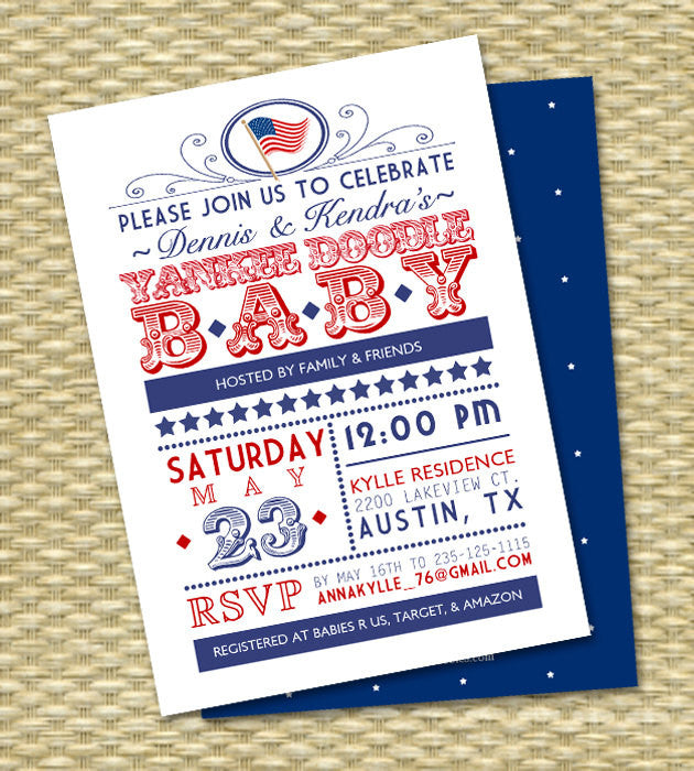 Yankee Doodle Baby Shower Red White and Blue 4th of July Baby Shower Independence Day July 4th Baby Shower First Birthday 1st Birthday