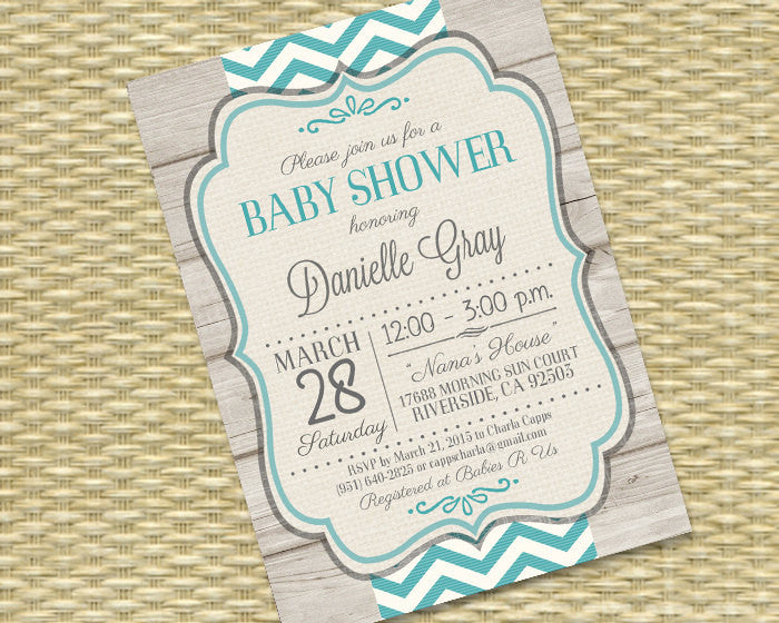 Rustic Baby Boy Shower Invitation Rustic Wood Navy Blue Chevron Typography Baby Boy Sip and See Diaper and Wipes, ANY EVENT
