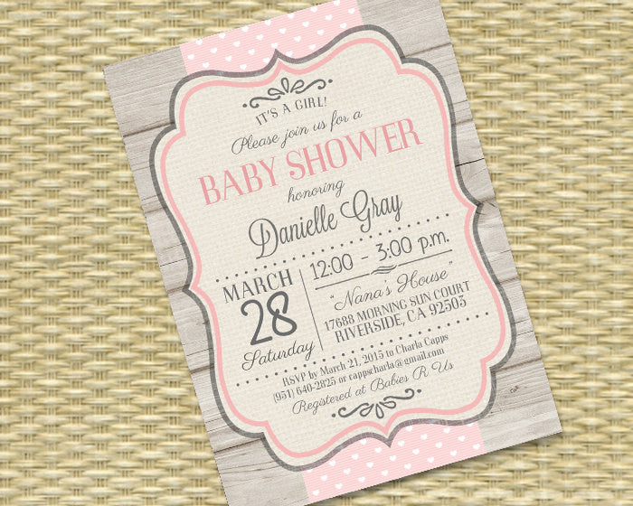 Rustic Baby Girl Shower Invitation Rustic Wood Baby Pink Hearts Ribbon Typography Baby Girl Sip and See Baby Sprinkle, ANY EVENT