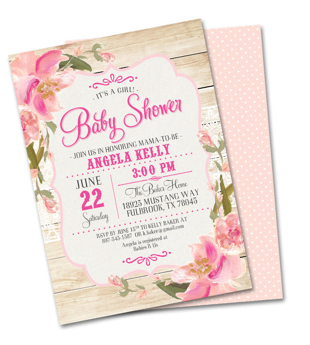rustic bridal shower invitation country wood lace pink blush peach flowers shabby chic bridal brunch bridal tea shower invitation any event
