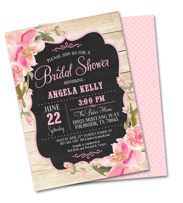 Rustic 40th Birthday Invitation Country Wood Chalkboard Pink Blush Peach Flowers Shabby Chic Anniversary Graduation Any Event