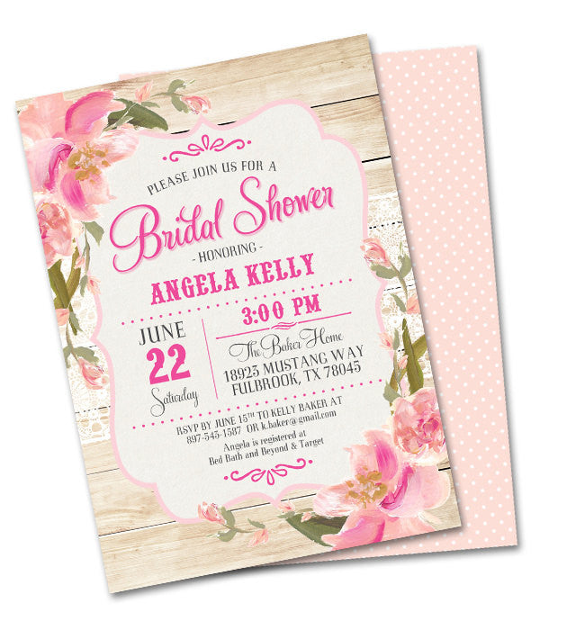 rustic bridal shower invitation country wood lace pink blush peach flowers shabby chic bridal brunch bridal