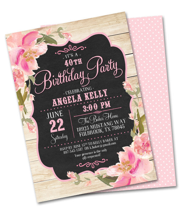 Rustic Bridal Shower Invitation Vintage Chalkboard Pink Blush Peach Flowers  Shabby Chic Bridal Brunch Bridal Tea, Any Event