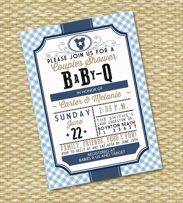 Aqua Coral Gender Neutral BabyQ Invitation Couples Baby Shower BBQ Baby Shower Barbecue Country Western Style, ANY COLOR, Any Event