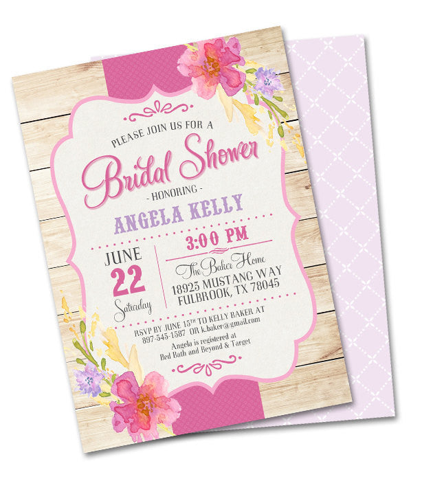 5b523aad5688 Summer Baby Shower Invitation Country Wood Summer Flowers Shabby Chic Baby  Girl Sip and See Rustic Baby Sprinkle