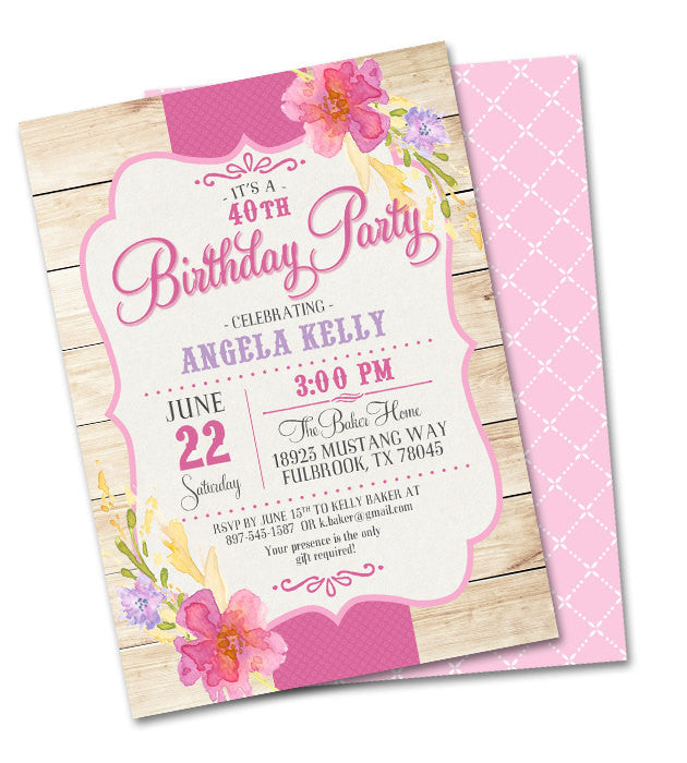40th Birthday Invitation Country Western Summer Flowers Shabby Chic Adult Picnic Party Tea Any Event