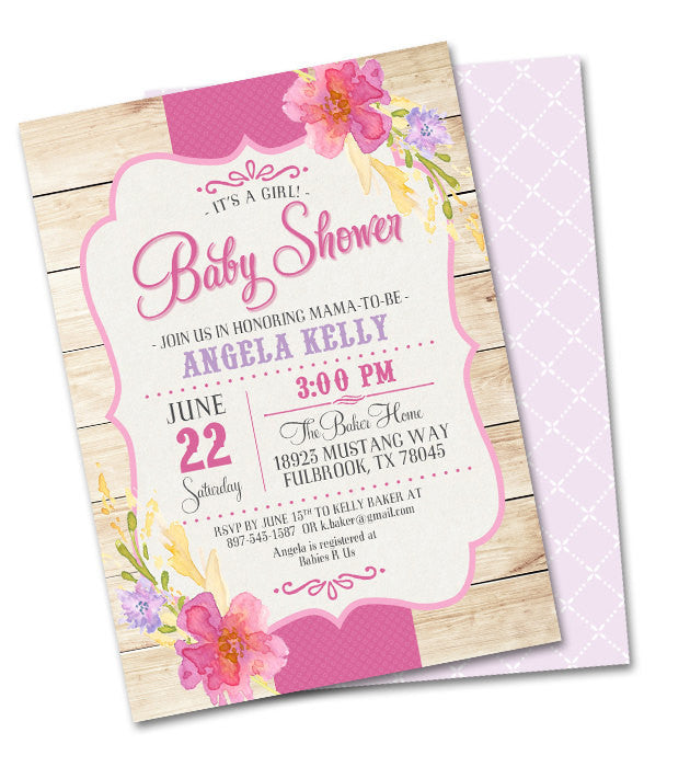 40th Birthday Invitation Country Western Summer Flowers Shabby Chic Adult Birthday Picnic Party Summer Party Tea Party, Any Event