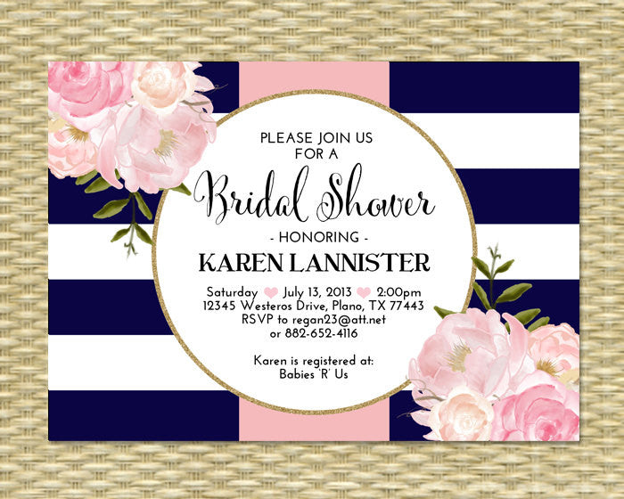 Bridal Shower Invitation Navy Blue Pink Gold Glitter Stripes Floral Peonies Bridal Brunch Bridal Tea Any Event