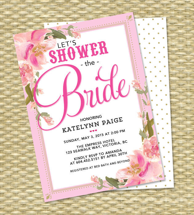 Bridal Shower Invitation Blush Pink Gold Bridal Shower Wedding Shower Floral Invitation Bridal Brunch, ANY EVENT - Any Color Scheme