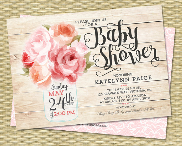 Baby Shower Invitation Baby Girl Shower Invite Mason Jar Floral Pink Peonies Rustic Baby Shower ANY EVENT