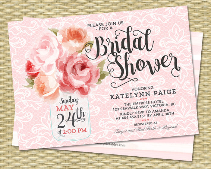 Bridal Shower Invitation Mason Jar Flowers Pink Peonies Rustic Bridal Brunch Pink Coral Bridal Tea, ANY EVENT