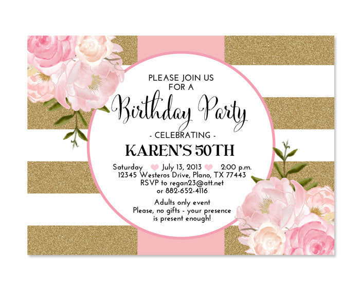 pink gold glitter bridal shower invitation stripes floral pink peonies bridal brunch bridal tea birthday party invitation any event