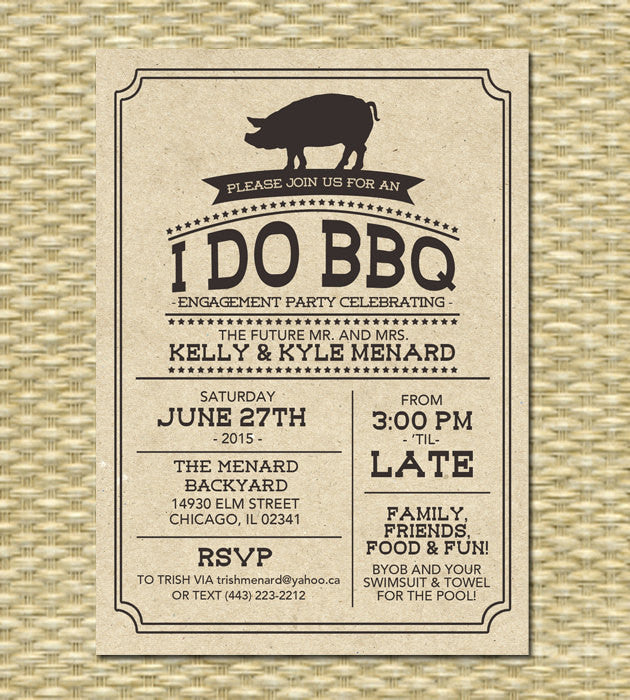 I Do BBQ Invitation Engagement Party Rehearsal Dinner Rustic Kraft Pig Roast Milestone Birthday Country Style Typography, Any Event