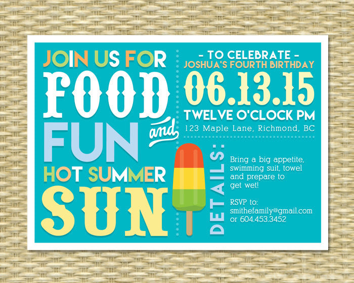 Kids Birthday Pool Party Summer Invitation BBQ 1st 2nd ANY EVENT Any Colors