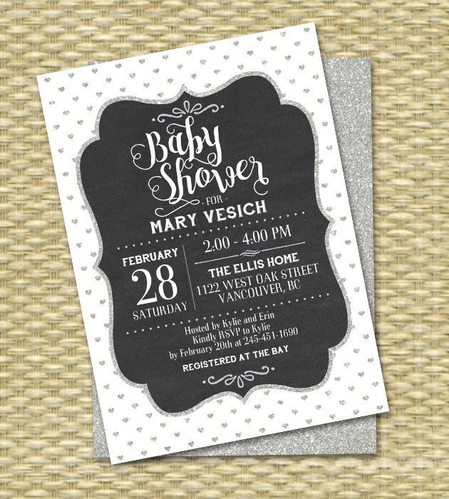 Baby Shower Invitation Gender Neutral Silver Glitter Black and White Vintage Chalkboard Baby Boy Baby Girl, Any Event, Any Color Scheme