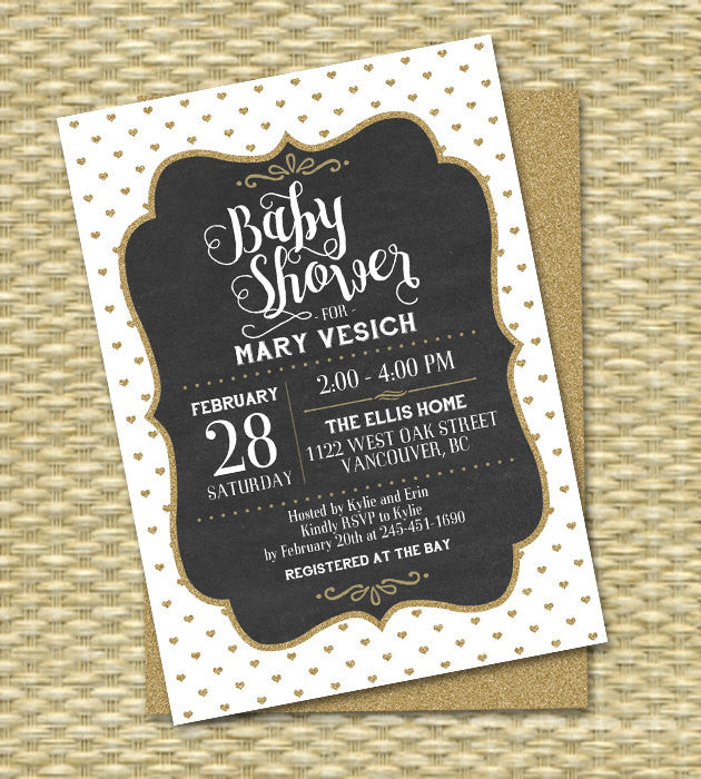 Baby Shower Invitation Gender Neutral Gold Glitter Black and White Vintage Chalkboard Baby Boy Baby Girl, Any Event, Any Color Scheme