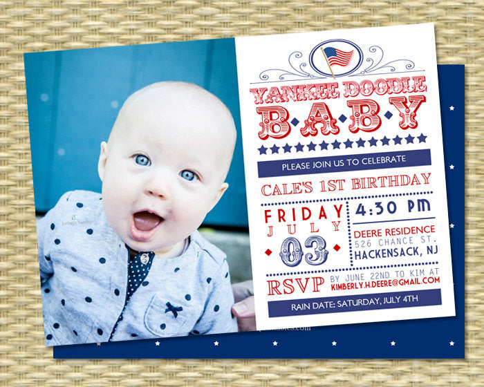 July 4th First Birthday Invitation Red White And Blue Yankee Doodle Baby Of Invition Patriotic