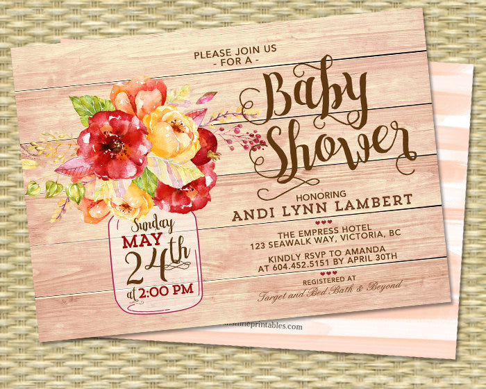 Autumn Baby Shower Invitation Mason Jar Fall Floral Rustic Sprinkle Wood Background Gold Brown Orange Red Sip See ANY EVENT