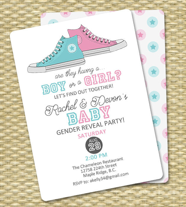 gender reveal invitation baby boy or baby girl announcement gender