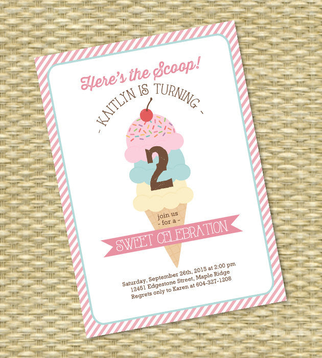 Ice Cream Party Invitation Birthday Party Invite Ice Cream Social