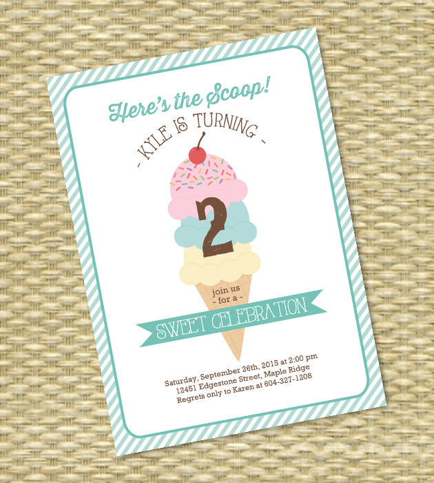 Ice Cream Party Invitation Birthday Party Invite Ice Cream Social Here's the Scoop Children's Birthday Kids Birthday 1st Birthday First