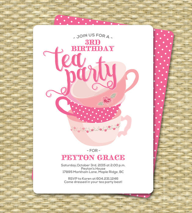 Birthday Tea Party Invitations Invitation 1st For Two Any Age