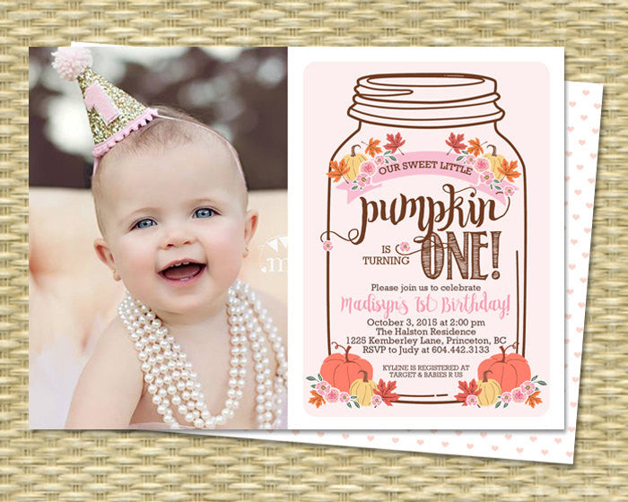 Little Pumpkin Mason Jar Rustic Fall First Birthday Invitation Fall Birthday Invitations Our Little Pumpkin PHOTO