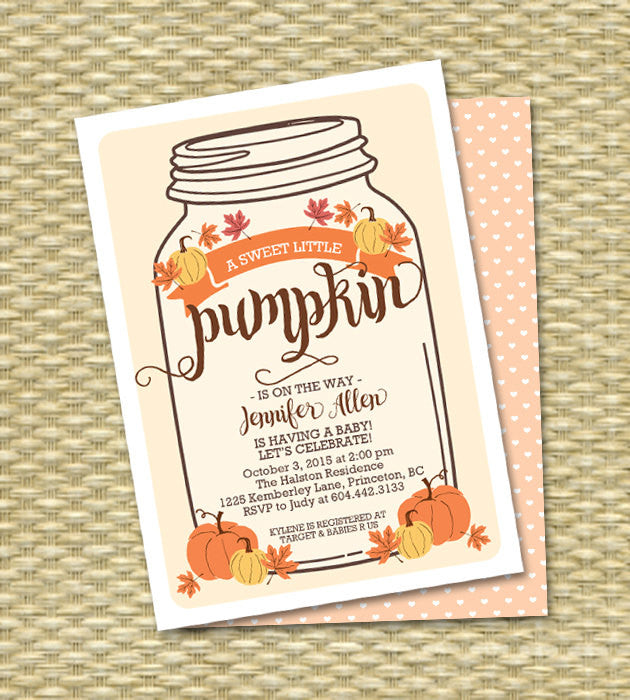 Little Pumpkin Baby Shower Invitation Baby Boy Mason Jar Fall Baby Shower Invite Fall Leaves Orange Gold Pumpkin Printable Invitation