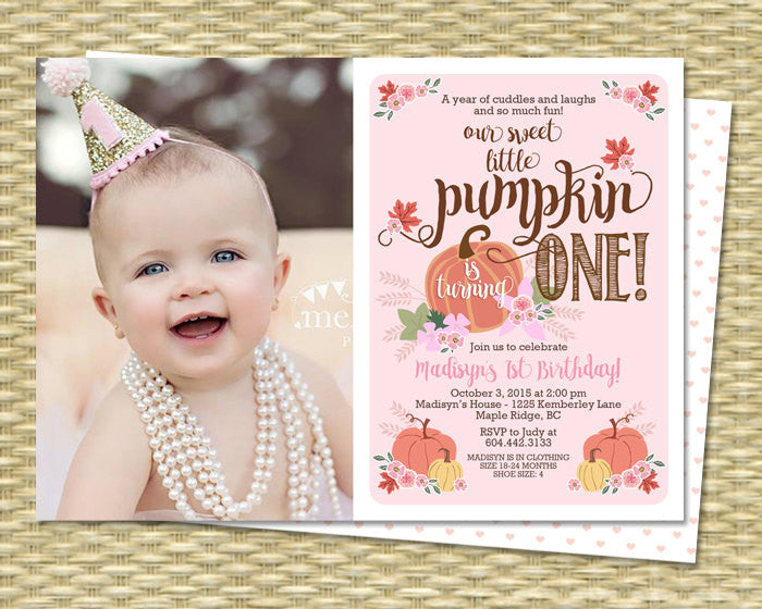 Our Little Pumpkin Birthday Invitation First Birthday Invitation Pumpkin Girl Birthday Invite 1st Birthday Invitations Fall with Photo