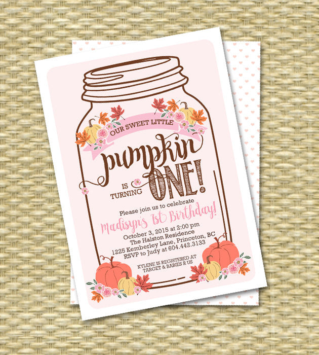 Little Pumpkin Mason Jar Rustic Fall First Birthday Invitation Fall Birthday Invitations Our Little Pumpkin