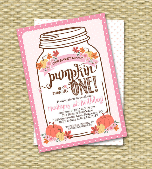 Rustic Fall First Birthday Invitation Little Pumpkin Mason Jar Fall Birthday Invitations Our Little Pumpkin