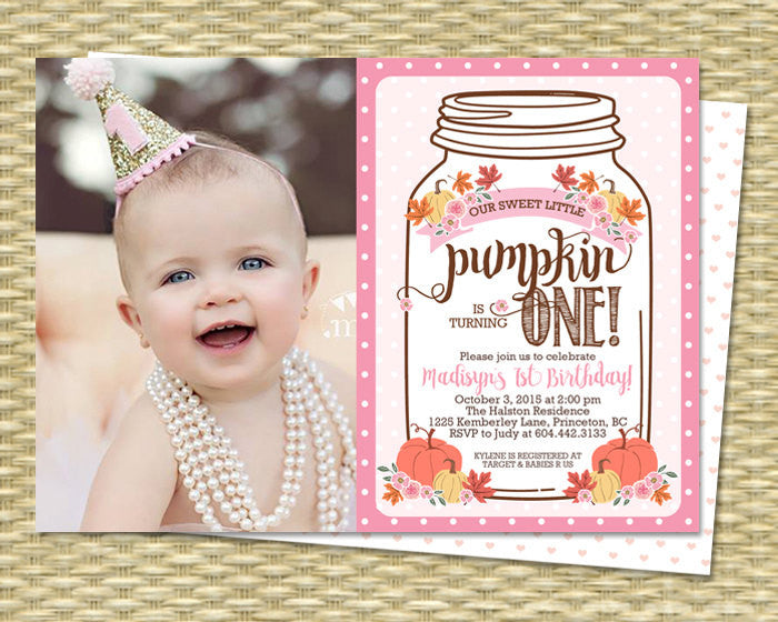 Fall First Birthday Invitation Little Pumpkin Mason Jar Rustic Fall Birthday Invitations Our Little Pumpkin PHOTO